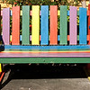 Multicoloured seat in the street, somehow symbolises its town,Nimbin.