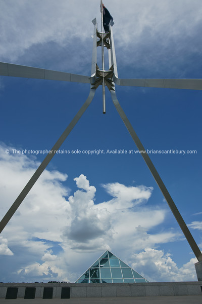 Flag pole above Parliament House, Canberra, Australia.