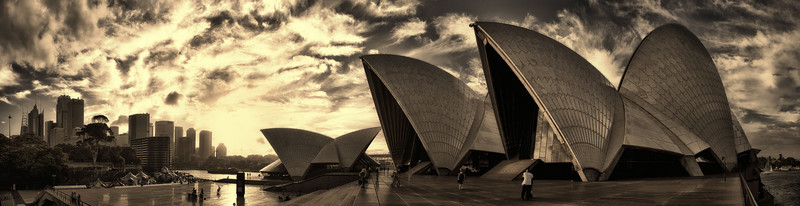 Sydney Opera House at Sunset.   12 Images in total, handheld and used auto-bracketing.  Four sections in all that were stitched together after using HDR to fuse three images per section first.   Then applied several Nik-Software edits, including a Silver Efx Pro as the final edit. (To see larger, please go to Australia Folder below and click on this picture once it opens)