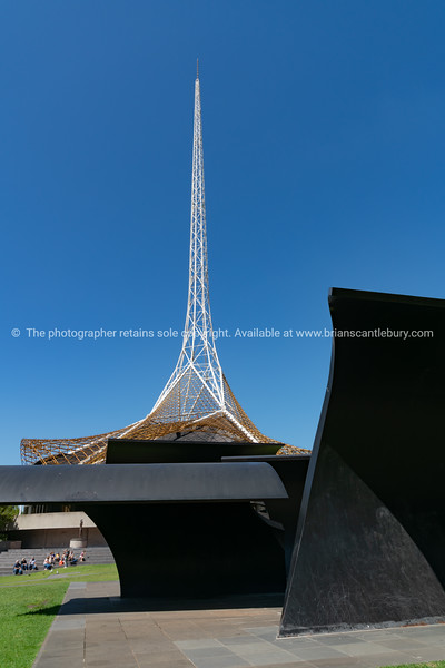 Tall white spire tower on top of Melbourne Arts Centre building