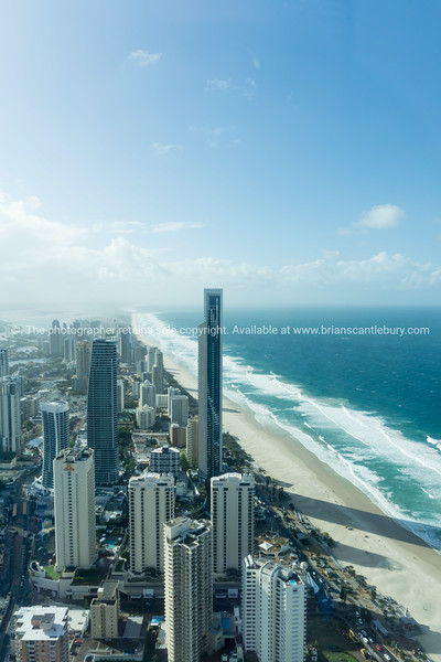 Surfer's Paradise view, towering skyscrapers with clouds drifting by.