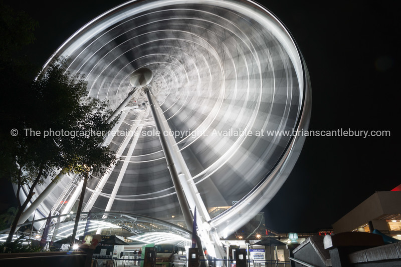 Abstract motion of rotatinmg ferris wheel at night