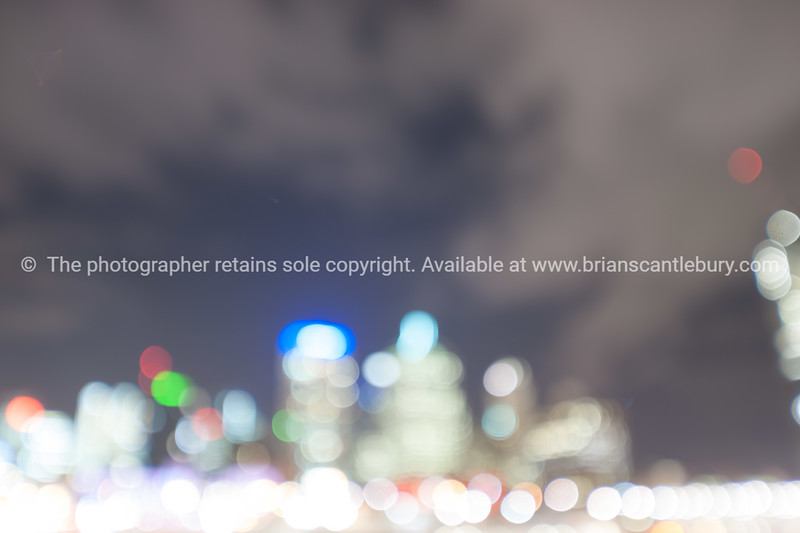 Abstract city lights and skyline.