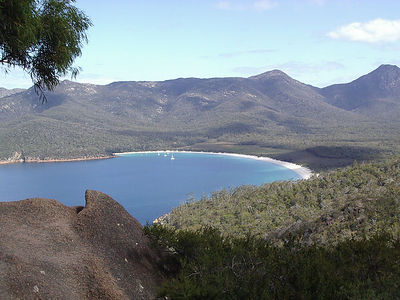 Hiked up an hour to view Wine Glass Bay in Freycinet National Park, Tasmania.  No roads lead there... Hiked to the beach another hour, and then back... saw a few wallabies (small kangaroos), and a poisonous tiger snake!