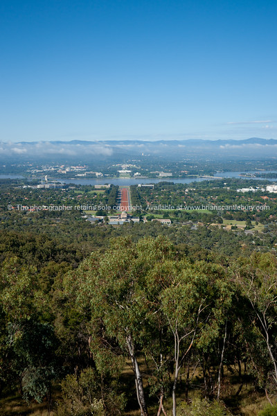 Anzac parade in distance, from Mount Ainslie, Canberra, Australia.