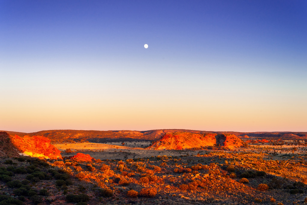 © Douglas Remington - Ethereal Light Photography, LLC. All Rights Reserved. Do not copy or download.<br /> <br /> Sunrise and moon, outback, Australia.