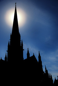 Silhouette of either St Peter's or St Paul's - Melbourne has both