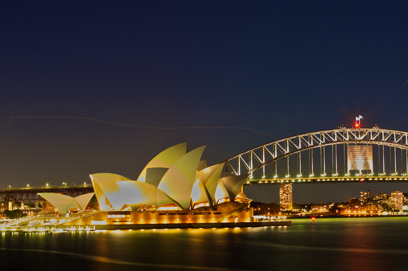 Sydney Opera House and Harbor Bridge at Night