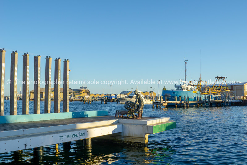Fremantle waterfront in evening light before sunset.