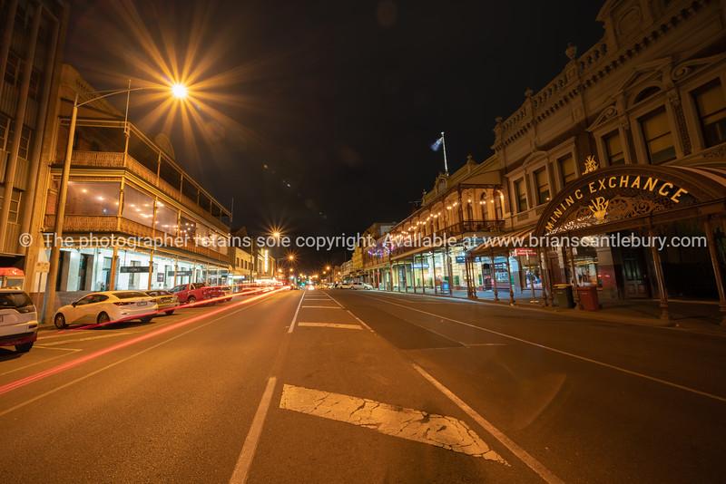 Main street at night in historic town of Ballarat.