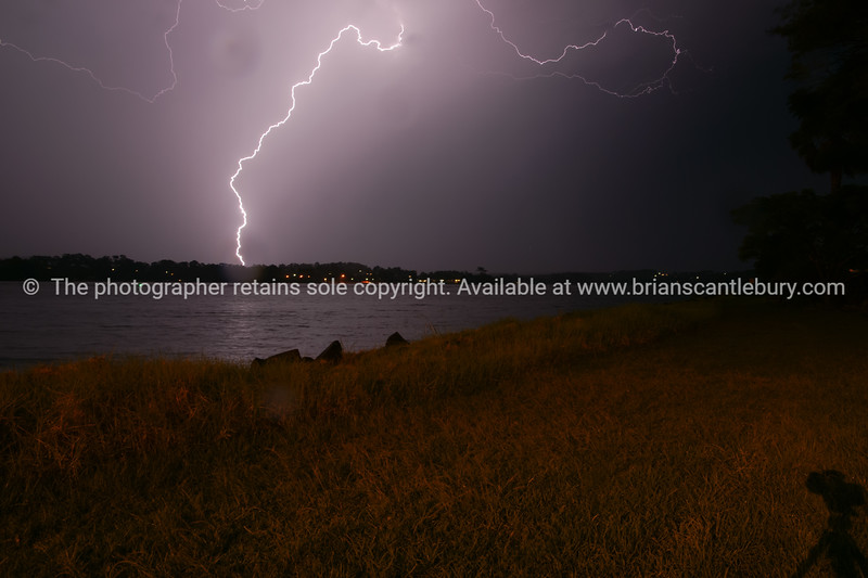 Batemans Bay, Australia, lihtning across the bay.