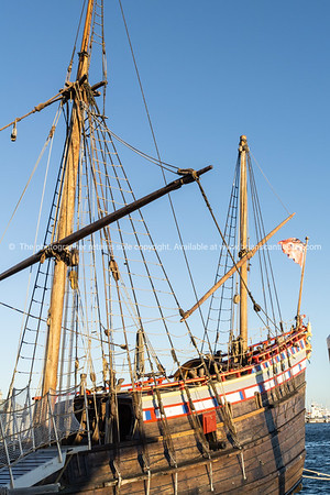 Replica of historic sailing ship moored as tourist attraction on waterfront Fremantle