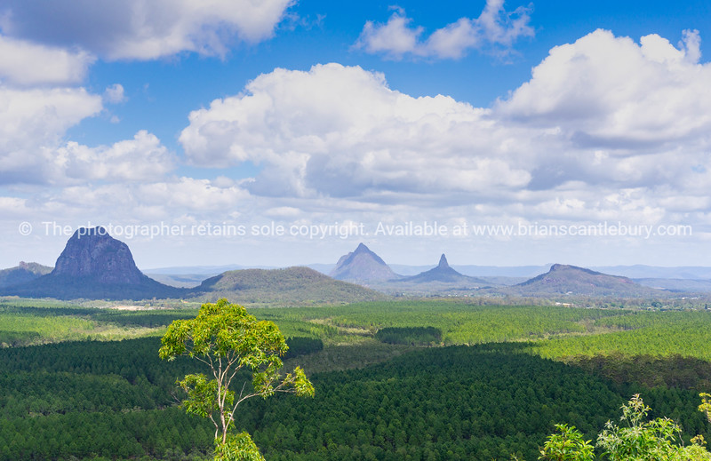 Australian lanscape  across flat expansive Queensland from Wild Horse Mountain lookout