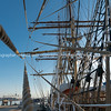 Historic square rig sailing ship rigging with leading lines and rope.