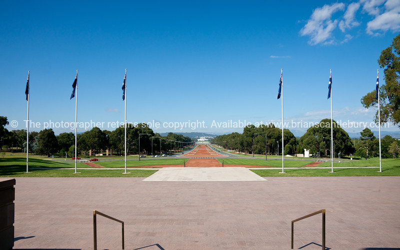 Anzac parade in distance, from steps of War Memorial Museum, Canberra, Australia.