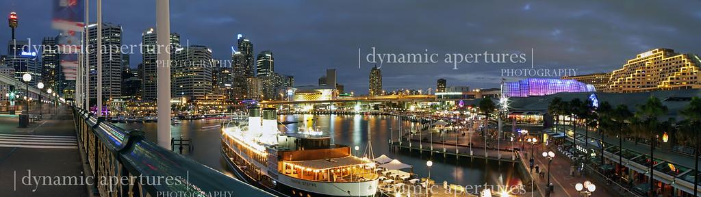 Sydney Darling Harbor bridge view panorama.