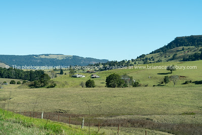 Rural landscape in valley on Mount Tamborine, Queensland Australia.