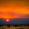 Bush fire sunet, outback, Australia