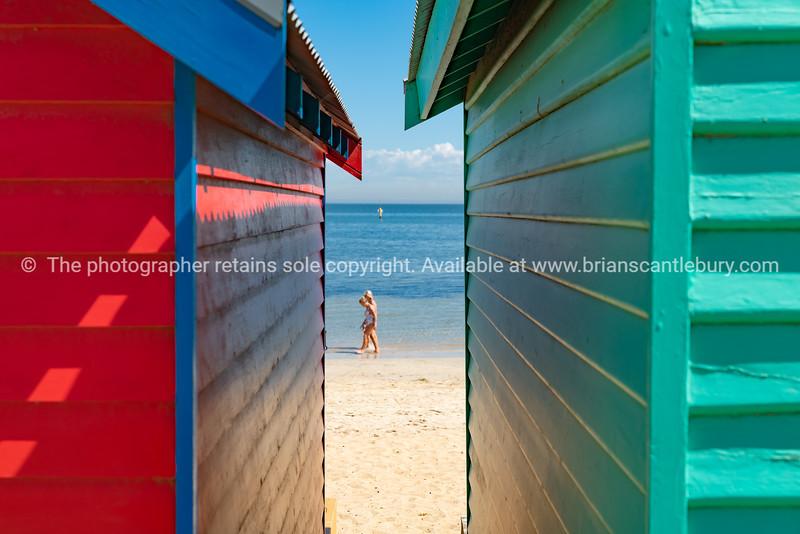 Colourful Brighton Beach boxes.