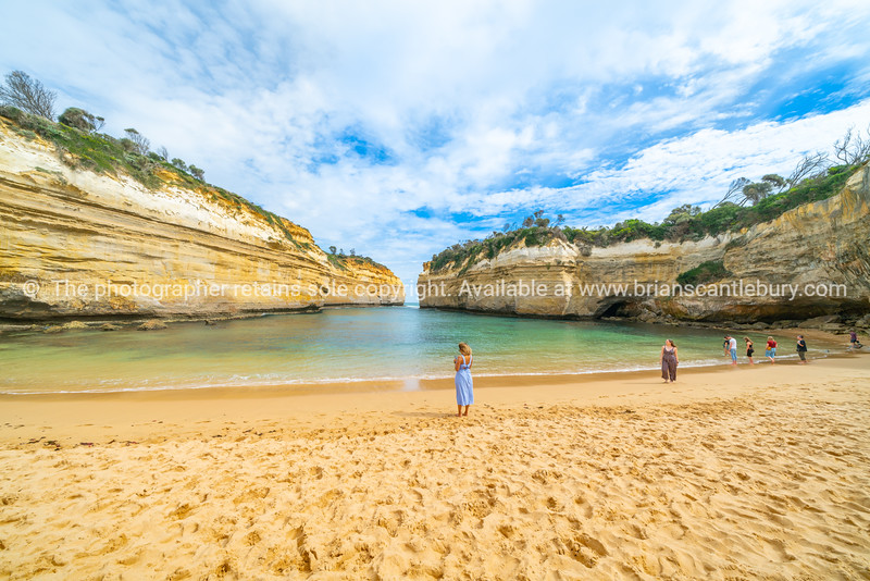 tourists on protected bay in Loch Ard Gorge