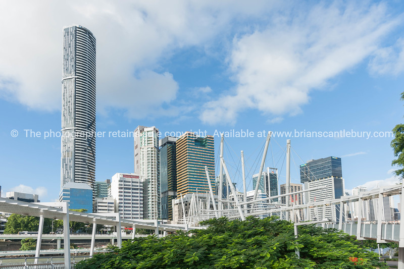 Brisbane city buildings and skyline from Kurilpa Pedestrian Bridge