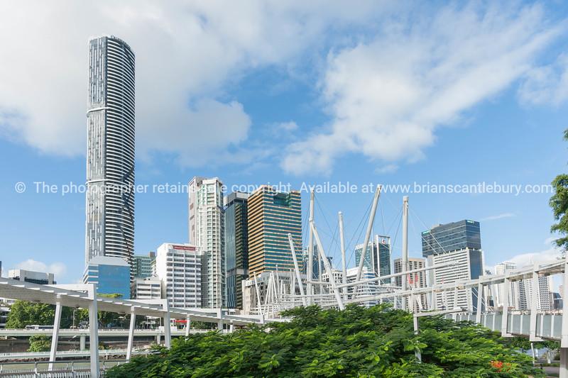 Brisbane city buildings and skyline from Kurilpa Pedestrian Bridge