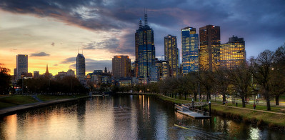 Downtown Melbourne with Yarra River at sunset