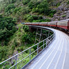 Kuranda Heritage Train Travelling across Barron Gorge National Park. Australia