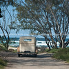 Vintage car, at beach for wedding. Kingscliffe, Australia.