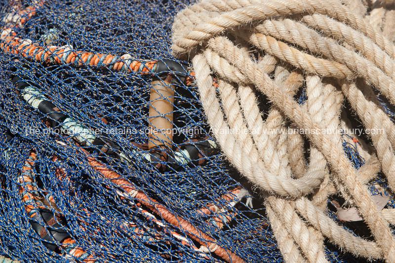 Fishing nets and ropes, closeup.