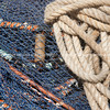 Fishing nets and ropes, closeup.