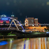 City at night lights across Yarra River.