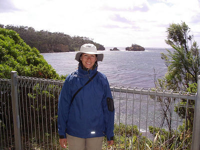 Tanya at another lookout point in Tasmania.  Cold (15 degrees) and Rainy Day.