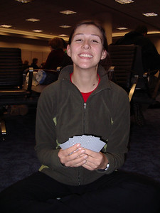 Tanya was winning at cards as we waited patiently for our flight!