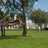Old Parliament Building,  Canberra, Australia, with banner of Aboriginal Land Protest in grounds.