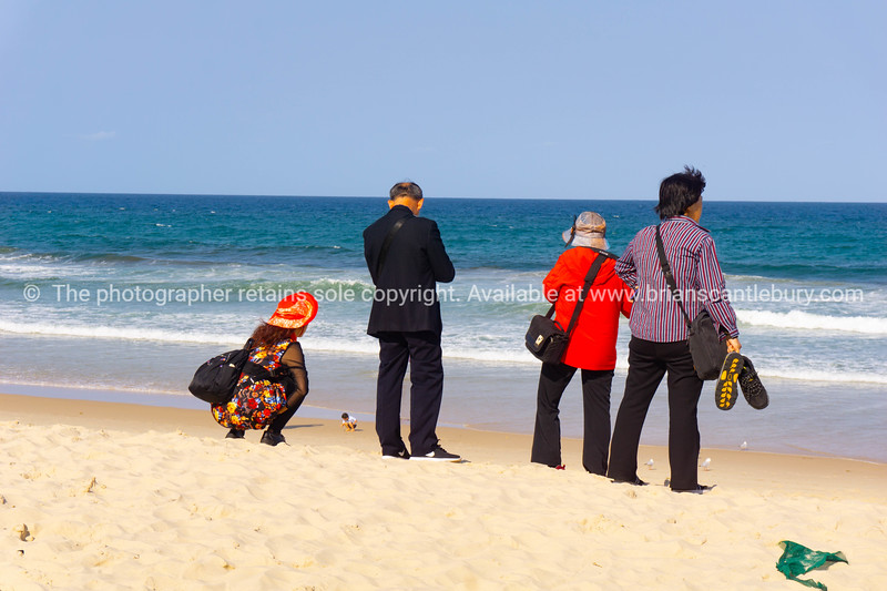 Group of tourists arrive at Surfers Paradise Main Beach to view and photograph.