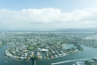 Surfer's Paradise aerial view house lined canal with clouds drifting by-6.dng
