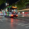 Melbourne tram service at night.