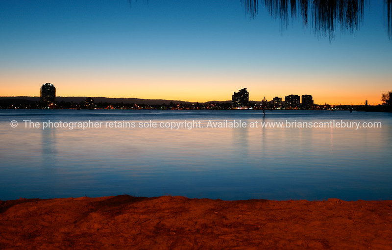 Nerang River at Surfers Paradise with Southport on horizon.