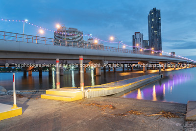 Bridge over Nerang River with Southport building in background