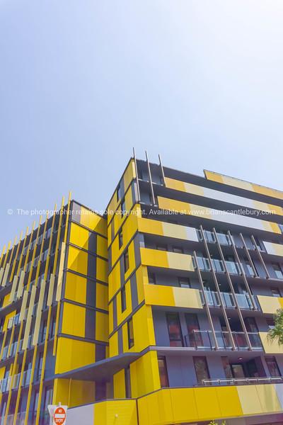 Medium-rise apartment building from street