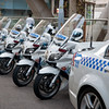 Police, line up of Police bikes in Sydney.