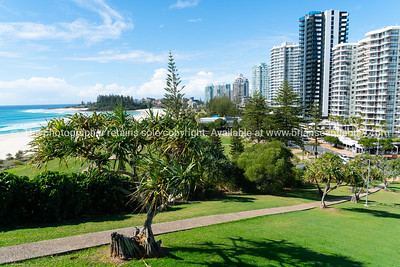 Coolangatta high-rise buildings lining Marine Parade.