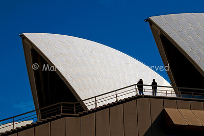 Sydney Opera House roof and tourists