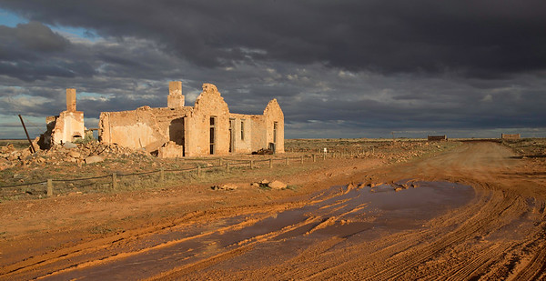 Farina Ruins with a storm front coming. Farina is located between Lyndhurst and Marree in South Australia and is not a ghost town apart from tourists