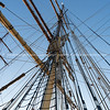 Historic square rig sailing ship rigging from bottom of mast