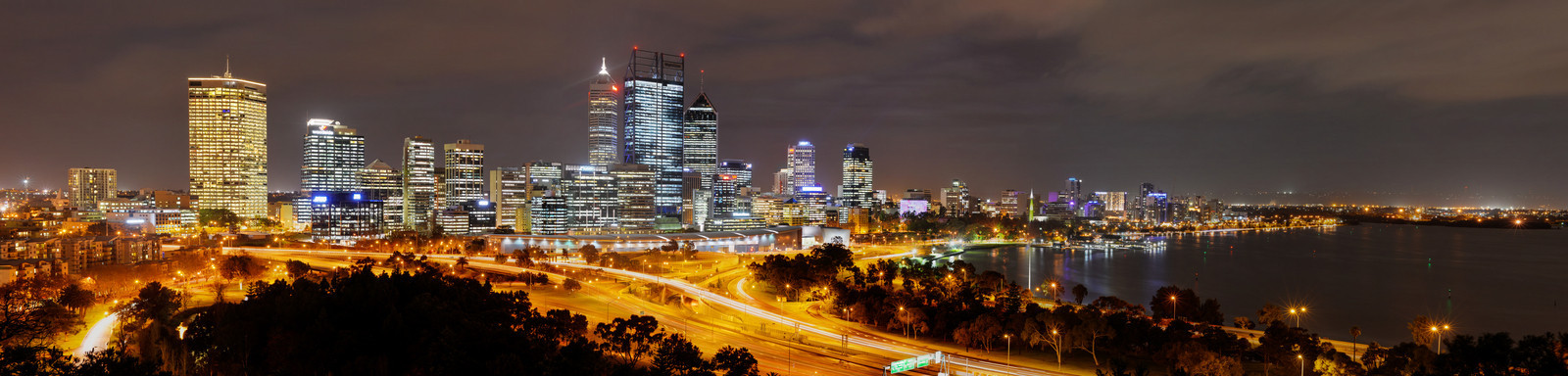 Panoramic Skyline of Perth at night.