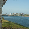 Prawn boat, Moonspinner, FCWB leaves Tweed Heeds to fish, with Tweed Heads skyline in background.