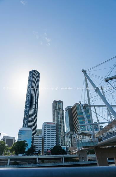 Brisbane city skyline in silhouette