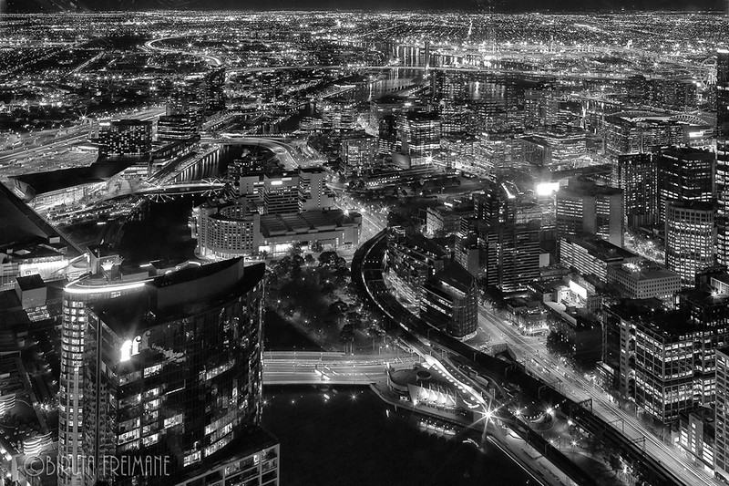 Melbourne from the bird's eye view at night.